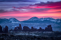 utah, ut, arches national park, canyons, southwest, colorado plateau,  atmospherics, red rock, moab, sandstone, lunar, la sal mountains, la sal, sunrise, predawn, dawn, mountains