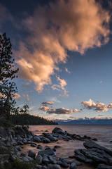lake tahoe, bonsai rock, boulders, north shore, sunset, sunrise, mountains, sierra, water, moon, clouds, ca, california