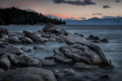lake tahoe, bonsai rock, boulders, north shore, sunset, sunrise, mountains, sierra, water, moon, clouds, ca, california