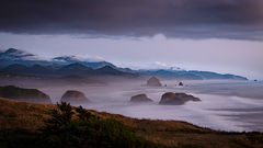 oregon, or, oregon coast, cannon beach, cola state park, pacific ocean, water, pacific, rocks, sea stacks, haystack, rock, fog, sunset, low light