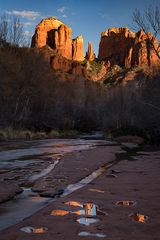 az, arizona, colorado plateau, red rock, red rock crossing, oak creek, cathedral rock, sunset, alpenglow, reflections, sedona,