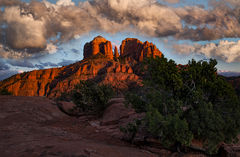 sedona, az, arizona, red rock, cathedral rock, red rock crossing, winter, clouds, trees, flora, sunset, sunrise,