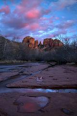az, arizona, colorado plateau, red rock, red rock crossing, oak creek, cathedral rock, sunset, alpenglow, reflections, sedona