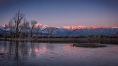 eastern sierra, mountains, clouds, sunset, bishop, ca, california, mountain light, winter, sierra, lenticular,  owens river valley, owens, river, ice, reflection