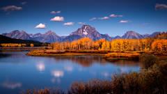 grand tendon national park, tetons, oxbow bend, snake river, snake, river, mountains, trees, water, fall, color, fall colors, aspens, moran