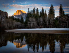 Half dome Merced River Sunset