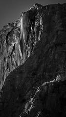yosemite, sierra, horsetail falls, mountains, sunset, water, california, ca, winter, national park, black white