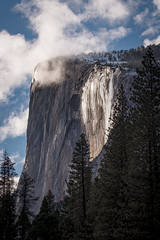 Yosemite, California, Ca, Sierra, valley, Yosemite national park,  el capitan, trees, sunset, horsetail falls, water, clouds,