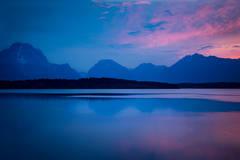 Jackson lake wyoming, wyoming, grand teton national park, tetons, snake river, snake, river, mountains, trees, water, color, aspens, sunset, moon, clouds, flora