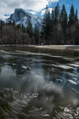 Yosemite, California, Ca, Sierra, valley, Yosemite national park,  half dome, trees, merced river, merced, ice, frizel, water, clouds, winter