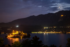 europe, italy, piedmont, lakes, lake region, orta, lago de orta, ciete d'orta, night, monastero, monastary, mountains, alps, italian, moon, moonset