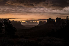 sedona, az, arizona, red rock, cathedral rock, red rock crossing, winter, clouds, trees, flora, sunset, sunrise, moon