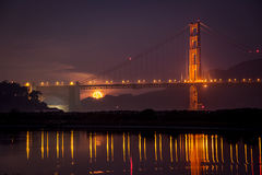 golden gate, fog, sunrise, san francisco, marin, trees, headlands, bridge, ca, california, water, ocean, pacific, night, stars