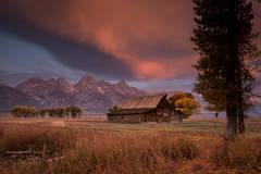snake river, snake, river, mountains, landscape, tetons, grand tetons, sunset, clouds, storm, jackson, trees,  national park, barn, mormon row, moulton