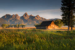 mountains, landscape, tetons, grand teton national park, snake river, sunset, snake, river, water, trees, moulton, barn