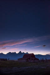 mountains, Wyoming, wy, Tetons, Grand Teton Park, landscape, Fall, trees, aspens, jackson, moulton barn, stars, night, big dipper, cabin, mormon