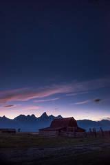 mountains, Wyoming, wy, Tetons, Grand Teton Park, landscape, Fall, trees, aspens, jackson, moulton barn, stars, night, big dipper, cabin, mormon