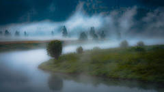 grand teton national park, tetons, snake river, snake, river, mountains, trees, water, color, aspens, clouds, fog, dawn, atmospherics