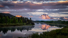 snake river, snake, river, mountains, landscape, tetons, grand tetons, sunrise, clouds, storm, jackson, trees, national park, water, spring, atmospherics, jackson lake, sunrise, moran
