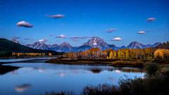 mountains, Wyoming, wy, Tetons, Grand Teton Park, landscape, Fall, trees, aspens, fall color, jackson, moulton barn, stars, night, big dipper, oxbow bend, snake river, snake, stars, pre dawn, dawn