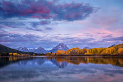 mountains, Wyoming, wy, Tetons, Grand Teton Park, landscape, Fall, trees, aspens, fall color, jackson, oxbow bend, sunrise, snake river, stars, reflections
