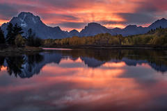 mountains, Wyoming, wy, Tetons, Grand Teton Park, landscape, Fall, trees, aspens, fall color, jackson, oxbow bend, sunset, snake river, stars, reflections