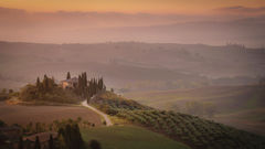 europe, italy, tuscany, pienza, siena, villa, wine, grapes, fields, sunset, clouds, valley, val d'orchia, sunrise, cypress
