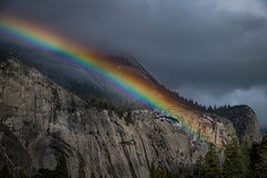 yosemite, valley, mountains, sierra, trees, sunrise, light, ca, california, water, trees, flora, winter, north dome, rainbow, clearing storm