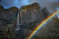 yosemite, valley, mountains, sierra, trees, sunrise, light, ca, california, water, trees, flora, winter, yosemite falls, falls, double rainbow, rainbow, clearing storm