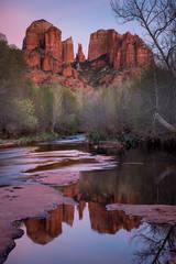 Sedona, AZ, Arizona, Cathedral Rock, Red Rock, Red rock crossing, oak creek, water, mountains, southwest, sunset, reflections