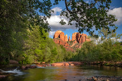 az, arizona, colorado plateau, red rock, red rock crossing, oak creek, cathedral rock, sunset, alpenglow, reflections, sedona, spring, sunset, water, falls