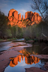 Rock, Red Rock, Red rock crossing, oak creek, water, mountains, southwest, sunset, reflections