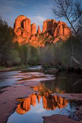 Rock, Red Rock, Red rock crossing, oak creek, water, mountains, southwest, sunset, reflections