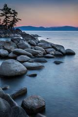 sierra, mountains, rocks, lake tahoe, tahoe, landscape, water, north shore, sunrise, dawn,