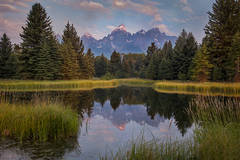 grand teton national park, tetons, snake river, snake, river, mountains, trees, water, color, aspens, sunset, moon, clouds, schwabaker, flora, schwabacher landing