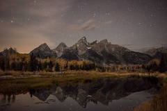 mountains, Wyoming, wy, Tetons, Grand Teton Park, landscape, Fall, trees, aspens, fall color, jackson, schwabaker landing, sunset, snake river, moonlight, stars