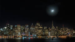 San francisco, moon, moon set, skyline, night, san francisco bay