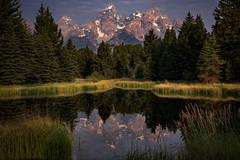 grand teton national park, tetons, snake river, snake, river, mountains, trees, water, color, aspens, sunset, moon, clouds, schwabaker, flora