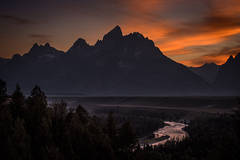 mountains, Wyoming, wy, Tetons, Grand Teton Park, landscape, Fall, trees, aspens, fall color, jackson, oxbow bend, sunrise, snake river