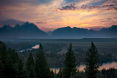 wyoming, grand teton national park, tetons, snake river, snake, river, mountains, trees, water, color, aspens, sunset, clouds, flora,