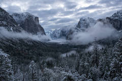 yosemite, national park, park, trees, snow, fog, sierra, california, ca, spring, merced, river, water, sunrise, half dome, tunnel view, el capitan, cathedral rocks, bridalveil falls, clearing, storm