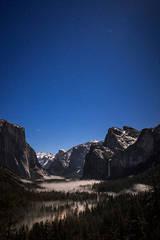 yosemite, ca, california, tunnel view, sierra, mountains, stars, bridalveil falls, bridalveil, water, waterfall, fog, snow, twilight, park, national,