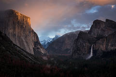 Yosemite, California, Ca, Sierra, valley, Yosemite national park,  el capitan, trees, sunset, tunnel view,  falls, water, clouds
