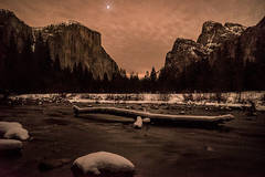 yosemite national park, yosemite, california, merced river, merced, sierra, stars, winter, snow, el capitan, valley view, water