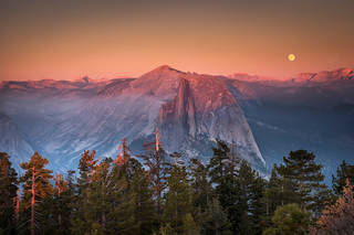 Half Dome Sunset and Moonrise