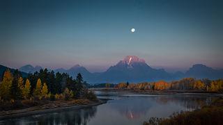 Moonset over Mt Moran