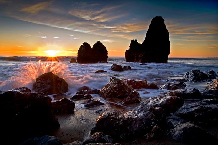 rodeo beach, sea stacks, marin headlands, beach, sunset, water, ocean, pacific, ca, california, photo
