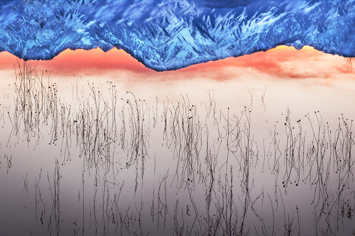 farmers, pond, sierra, eastern, bishop, sunset, reflection, mt tom, grasses, water, sunrise, mountains, owens river valley, owens river, photo