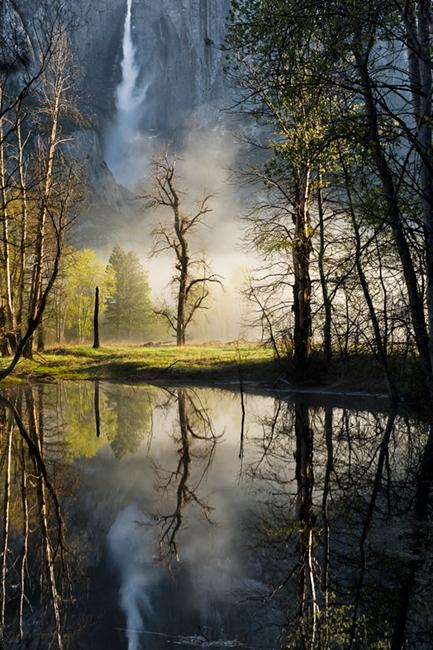 <p>merced river, merced, river, yosemite, yosemite falls, swinging bridge, ca, california, sunrise, sierra, mountains, trees, water, spring, colors, trees, reflections</p>, photo