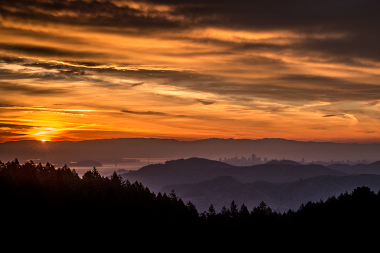 San Francisco Bay, San Francisco, California, CA, water, Mt Tamalpais, sunrise, clouds, bay area, dawn, photo